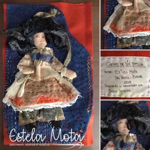 Cheiro de Vó Emilia - Workshop Floripaquilt, orientado por Dóris Teixeira, lembrando brincar de bonecas com a Vó Emilia.